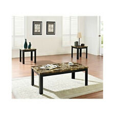 3 PIECE COFFEE END OCCASIONAL COCKTAIL TABLE SET,FAUX MARBLE TOP,SIDE TABLES,NEW