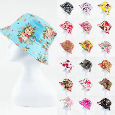 Women Men Bucket Hat Boonie Hunting Fishing Outdoor Cap Floral Summer Sun Hats