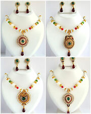Designer Bollywood Traditional Pearl Necklace Earrings Set Bridal Indian Jewelry