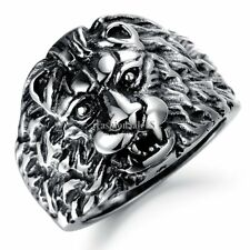 Men's Stainless Steel Ring Band Biker Vintage Lion King Head Carved Sz 7-11
