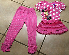NWT MINNIE MOUSE Pink Ruffle Tunic Legging Polka Dot Bows SIZE 4T FOUR LEFT!