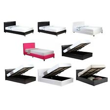 3ft,4ft,4ft6,5ft Low Frame or Ottoman Storage Bed Black Brown White