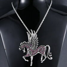 Tibet Silver Pegasus Crystal Pendant Sweater Long Chains Necklace Fashion Gifts