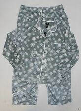 NWT Women's 2 PC ARIA Polar Microfleece Pajama Set GREY SNOWFLAKE Various Sizes