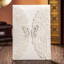 Elegant White Hollow Butterfly Wedding Invitations Cards with Envelopes, Seals