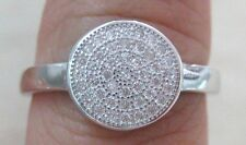 100% REAL 925 Sterling Silver Microsetting Cz ROUND Ring size L N  WOMEN GIRL