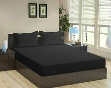 """1 pc Fitted Sheet with Extra Deep Pocket up to 30"""" Egyptian Cotton 1000tc Black"""