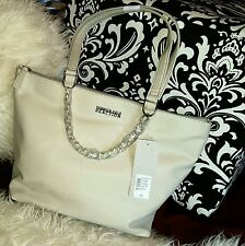 KENNETH COLE Lynx Febble Ivory Faux Leather Medium Shopper Tote Handbag PurseNEW