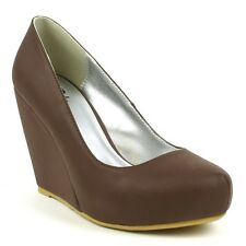 Kreay Matte feel Faux-Leather Classic Lady Wedge Heel Pumps - Brown