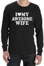 I Heart My Awesome Wife Long Sleeve T-Shirt Couples Spouse Valentine's Wedding