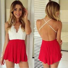 Sexy Womens Backless Halter Bodycon Playsuit Short Romper Clubwear Jumpsuit M75