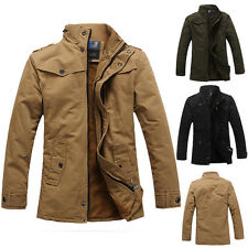 2015 Autumn Mens Thick Military Casual Outwear Coat Outwear Jacket Overcoat Tops
