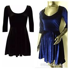 WOMENS VELVET DRESS SCOOP BACK FRANKI FLARED MINI SHORT PARTY SKATER DRESS 8-14