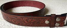 New Brown Embossed Western Bonded Leather PU Snap On Belt Strap