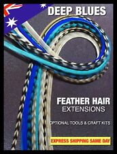 Natural Feather Hair Extensions Grizzly Deep Blue Turquoise Mix 12 +4FREE X-XXL