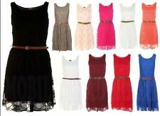 NEW WOMENS LADIES BELTED LACE SHIFT SKATER SLEEVELESS PARTY DRESS TOP SIZE 8-14