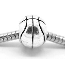 "Wholesale Lots Silver Tone Basketball European Charm Beads 11x10mm(3/8""x3/8"")"