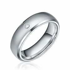 6mm Stainless Steel Dome Ring CZ Stone Brushed Silver Wedding Band Men's Jewelry