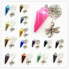 Mixed Gemstone Pendulum With Tibetan silver Dragonfly Pendant Bead L067