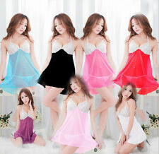 SHCA Women's Sexy Lingerie Lace Dress Underwear Babydoll Sleepwear+G-string