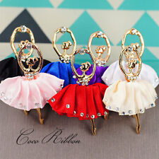58mm 4/8/12pc Alloy Rhinestone Ballet Ballerina Satin Tutu Pendant Charm 5 Color