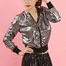 Dance Shirt Collar Sequins Costumes Performance Clothing Hip-hop Hooded Jacket