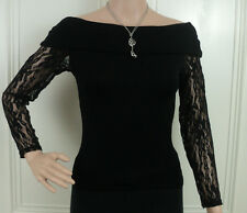 LADIES SEXY COWL NECK OFF SHOULDER LONG SLEEVE LACE STRETCH BLACK FIT PARTY TOP