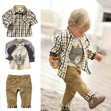 2015 3PCS Baby Kids Boy Cotton Sleeve Checked Shirt T-Shirt and Pants Outfit Set