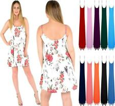 WOMENS LADIES SLEEVELESS PLUS SIZE CAMI STRAPPY PRINT SWING DRESS LONG VEST TOPS