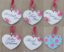 Hanging Heart Plaque Decoration Floral Shabby Chic Sign Wooden Love Gift Posies