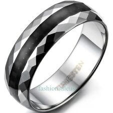 6mm Tungsten Carbide Faceted Edge Rings Men's Women's Wedding Anniversary Bands