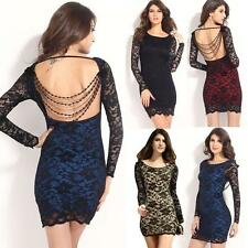 Women's Lace Open Back Beaded Crewneck Long Sleeve Party Club Bodycon Mini Dress