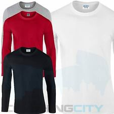 LONG SLEEVE PLAIN TEE TSHIRT TOP SWEATER JUMPER LEISURE WORK COTTON CREW NECK