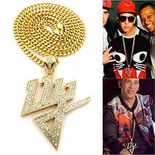 MENS ICED OUT HIP HOP GOLD DADDY YANKEE DY PENDANT CHAIN NECKLACE SET 3 OPTIONS