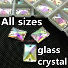 Rectangle Sew On Glass AB Color 2 Holes Crystal Rhinestone Silver Flatback