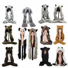 6 Style Spirit 3 in 1 Faux Fur Animal Hood Hat with Scarf Zipper Pocket US Ship