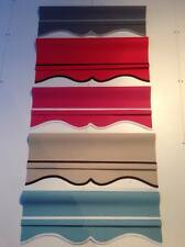 Roller Blinds custom made Scalloped edge Grey Red Pink Sand Blue