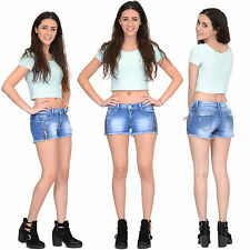 New Womens Fitted Stretch Faded Blue Distressed Denim Hot Pants Shorts Frayed