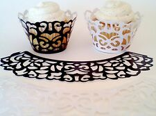 400 WHITE or BLACK Damask Cupcake laser cut liners collars Wrappers Wedding