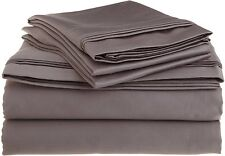 Bed Sheet Set 4PCs Extra Deep Pocket Egyptian Cotton 1000TC Grey Solid