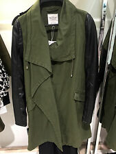 ZARA OVERCOAT WITH FAUX LEATHER SLEEVES DARK KHAKI S-XL Ref. 5070/023