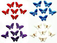 6 Padded Glitter Butterflies Assorted Colours Your Choice New C0650