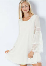 VANILLA MILKSHAKE CHIFFON SHIFT DRESS-BELL SLEEVES- CREAM-S-M-L