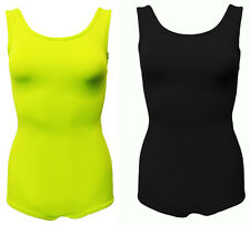 BLACK & LIME GREEN LIGHTWEIGHT LOW SCOOP BACK STRETCH BODY SUIT. FREE SIZE