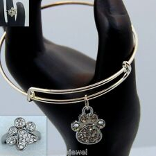 Dog Paw Print Crystal Stainless Steel Ring & Expandable Wire Bracelet Silver