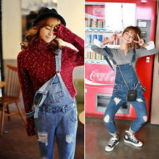 Korean Girls Loose Denim Suspender Jean Trousers Pants Baggy Ripped Jumpsuit CA