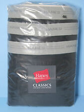 Hanes Classics Big and Tall Mens Underwear Black Cotton BOXER BRIEFS 3/Pkg NIP
