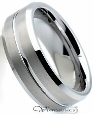 Men Tungsten Carbide Wedding Band Brushed Groove Ring 8mm Size 7.5 to 14.5
