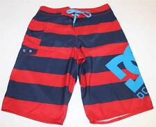 DC Shoes Big Star Board Shorts Mens Red Blue Striped Swim Surf Polyester New NWT