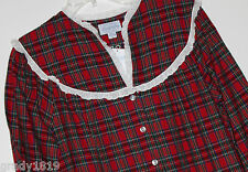 Lanz of Salzburg NWT Women's S M  Red Plaid 100% Cotton Flannel Nightgown Gown